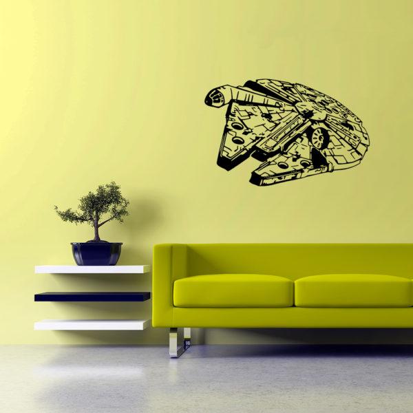 nálepka na stenu millenium falcon - čierna